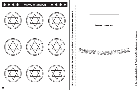 Hanukkah Coloring & Activity Book: Back of Memory Match Cards and Exterior of Greeting Card